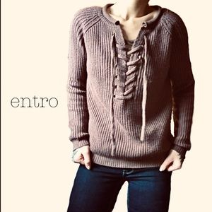 🦚Entro lace up knit sweater brown🦚